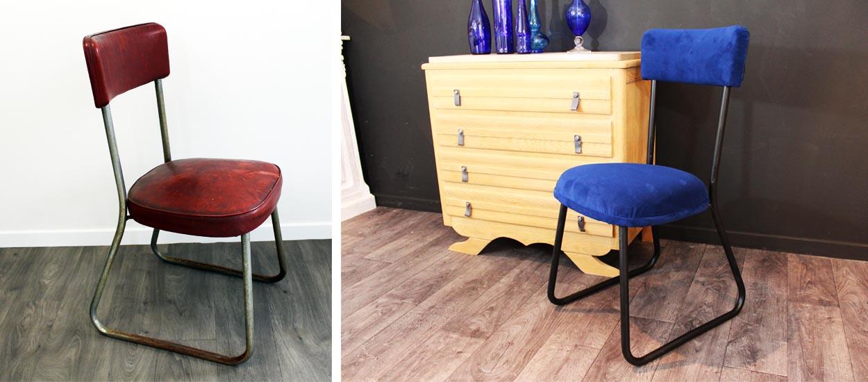 comment habiller et tapisser une chaise ancienne avec du tissu velours. Black Bedroom Furniture Sets. Home Design Ideas