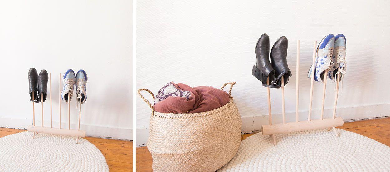 diy un rangement pour chaussures original pour. Black Bedroom Furniture Sets. Home Design Ideas