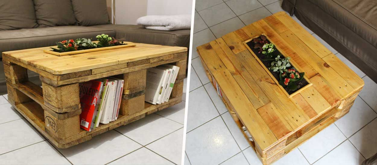 Tuto : Fabriquez une table basse en palette avec sa jardinière