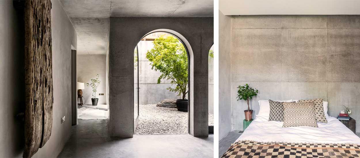 Cette maison Wabi-sabi tout en béton est une oasis de tranquillité