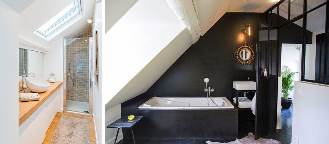 d co et am nagement 7 exemples pour votre salle de bains sous pente. Black Bedroom Furniture Sets. Home Design Ideas