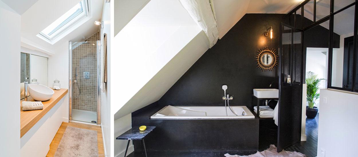 D co et am nagement 7 exemples pour votre salle de bains sous pente - Salle de bain sous comble ...