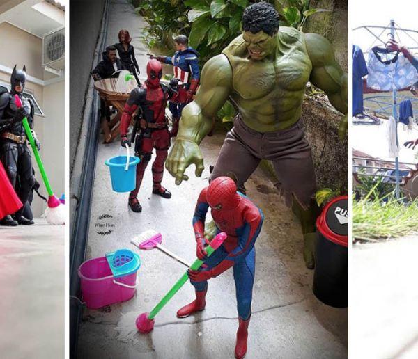 Ce collectionneur de figurines fait faire son ménage aux super-héros de Marvel et DC !