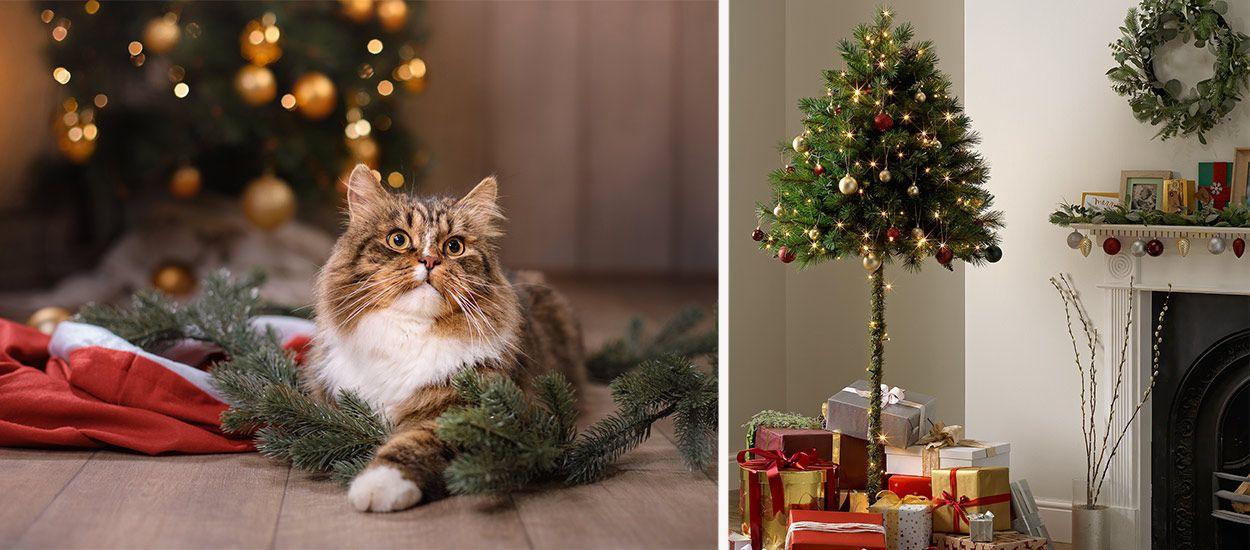 Ce demi-sapin est censé empêcher votre chat de détruire la déco de Noël