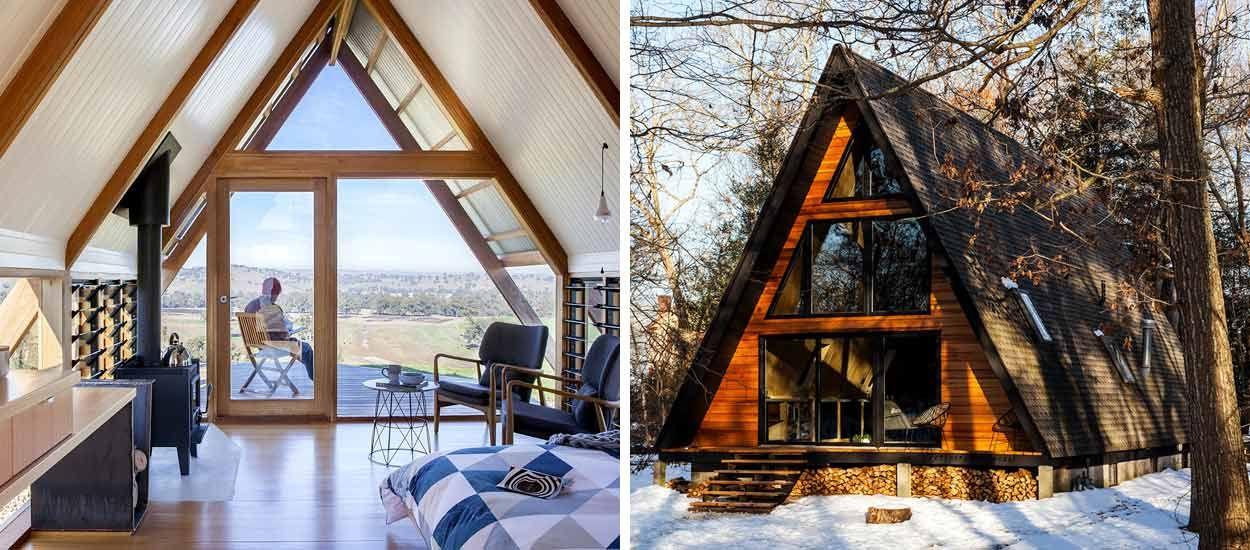 On rêverait de passer l'hiver dans ces drôles de chalets en forme de triangle