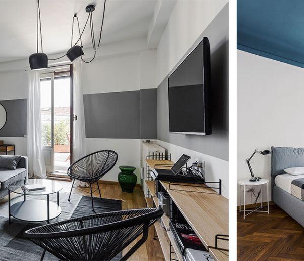 Cet appart multiplie les idées originales côté peinturepour agrandir l'espace
