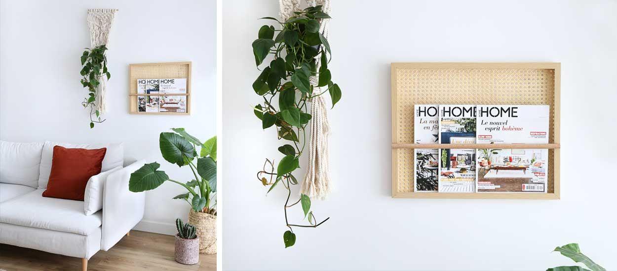 Tuto : Fabriquez un porte-revues en cannage pour afficher vos magazines au mur