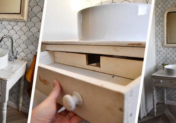 Tuto : Détournez Une Table Ancienne En Meuble Vasque Pour Une Salle De Bains  Vintage