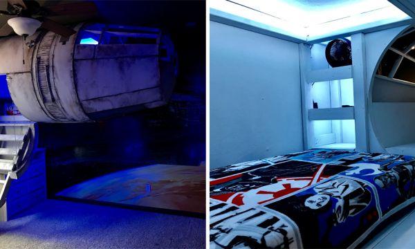 Star Wars : Ces parents ont créé un lit Faucon Millenium pour leur fils