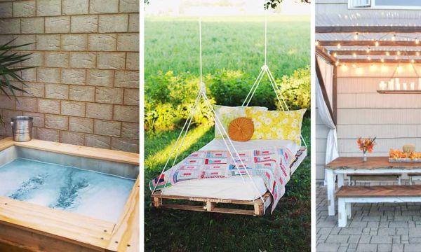 Lit suspendu, jacuzzi et fauteuil en palette : 12 tutos pour vous détendre au jardin