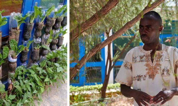 Au Kenya, il cultive un potager dans des bouteilles en plastique pour économiser l'eau