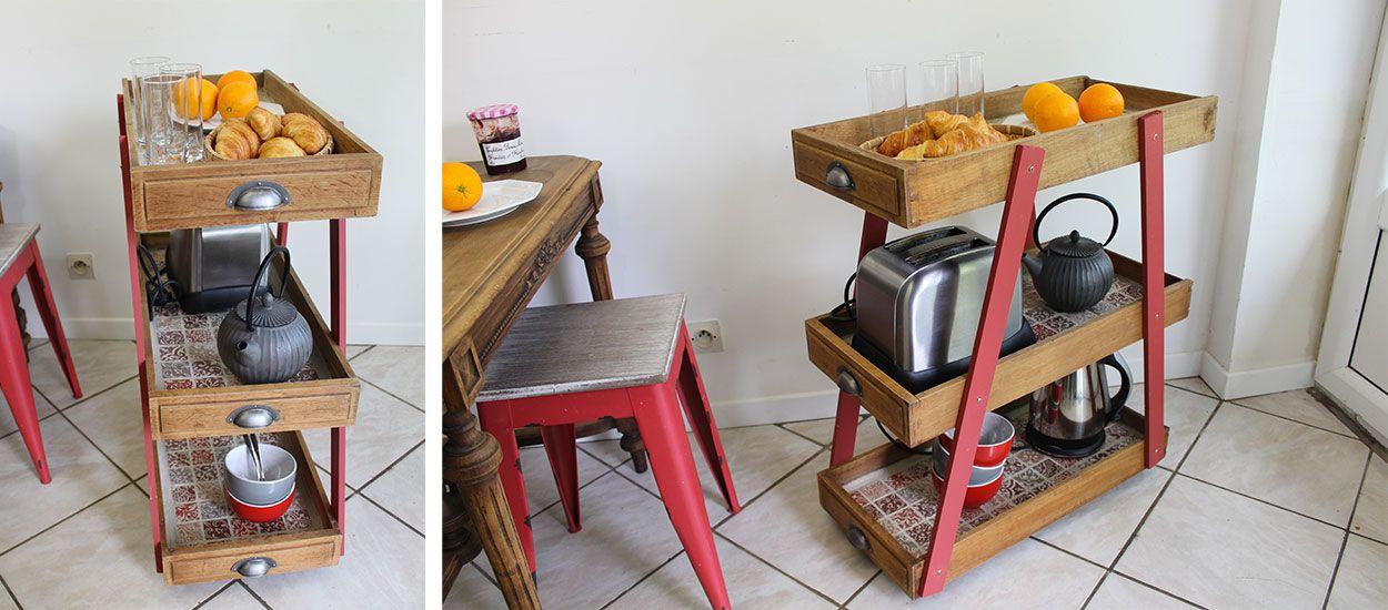 Tuto : Fabriquer une desserte de cuisine avec des vieux tiroirs en bois