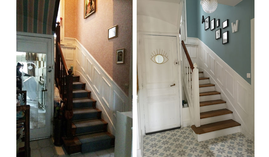 Avant après meulière rénovation escalier