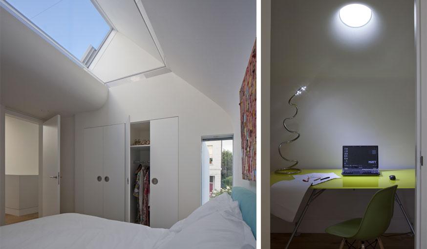 Des puis de lumière dans la chambre et dans le bureau. © MATT Architecture / Will Pryce