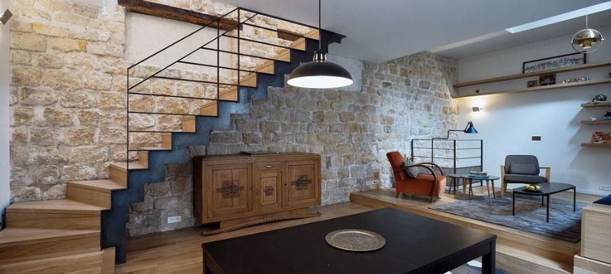 Triplex rénové Alia Bengana + Capucine de Cointet architectes vue panoramique salon