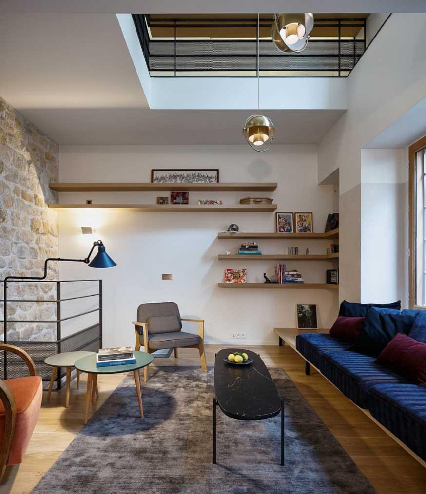 Triplex rénové Paris Alia Bengana + Capucine de Cointet architectes salon