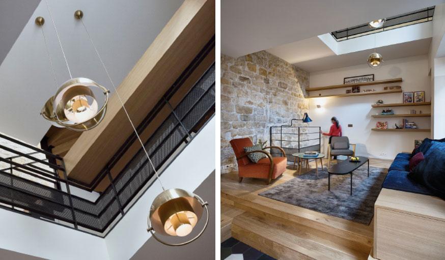 Triplex rénové Paris Alia Bengana + Capucine de Cointet architectes salon ouverture plafond