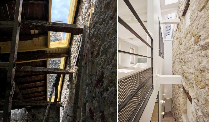 Triplex rénové Alia Bengana + Capucine de Cointet architectes verrière de toit et escalier lumineux