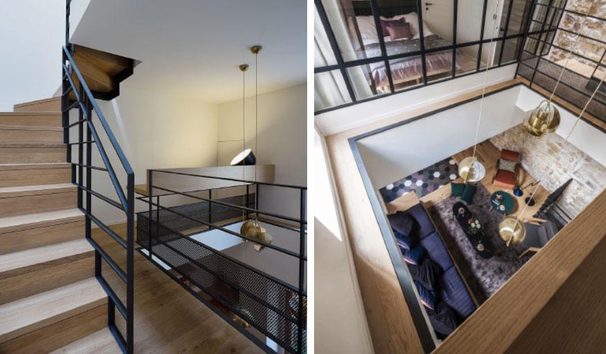 Triplex rénové Paris Alia Bengana + Capucine de Cointet architectes bureau et vue sur le salon