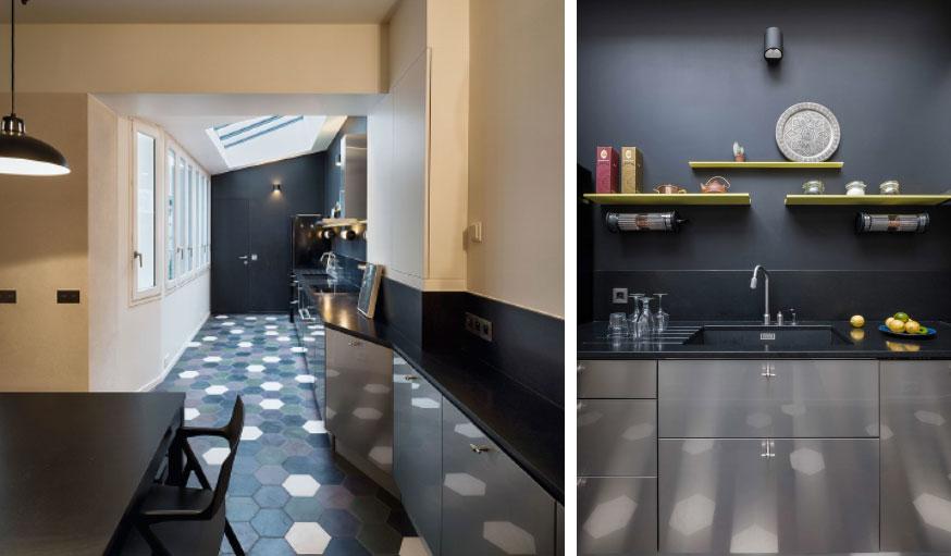 Triplex rénové Alia Bengana + Capucine de Cointet architectes vue panoramique cuisine