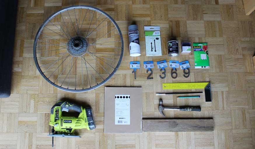 Tuto fabriquer une horloge avec une roue de vélo matériaux