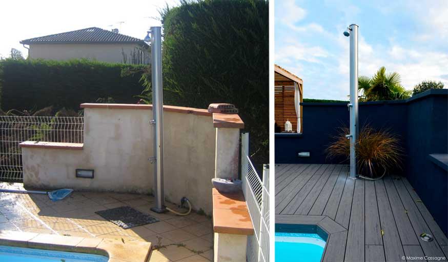 Douche extérieure à côté de la piscine avant et après rénovation