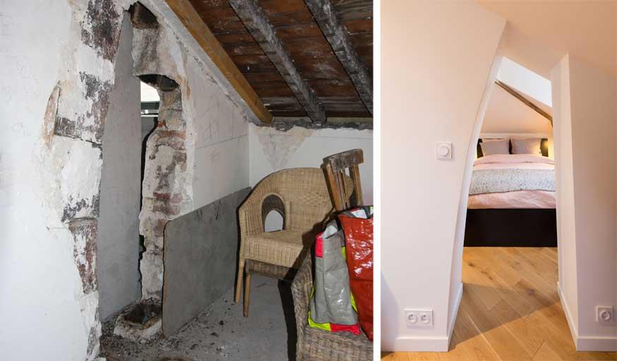 Avant après appartement sous les combles Prisca Pellerin passage secret