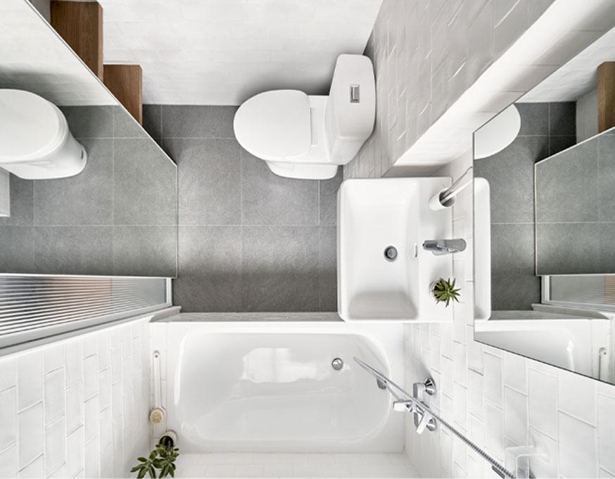 Studio optimisé à Taïpei salle de bains minimaliste vue du dessus