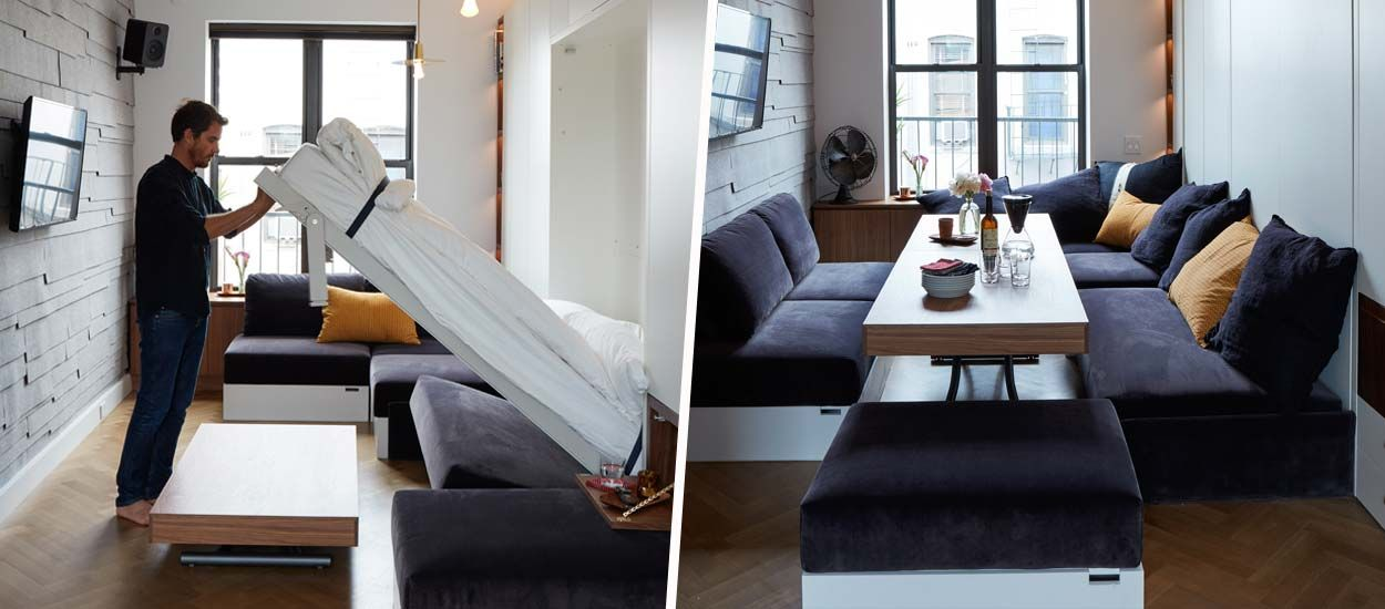 Dans cet appartement, la chambre se transforme en salle à manger pour 10 personnes