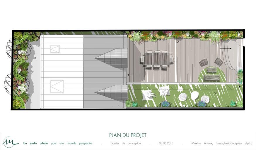 Plan de la maison et des zones à végétaliser par Maxime Arnoux