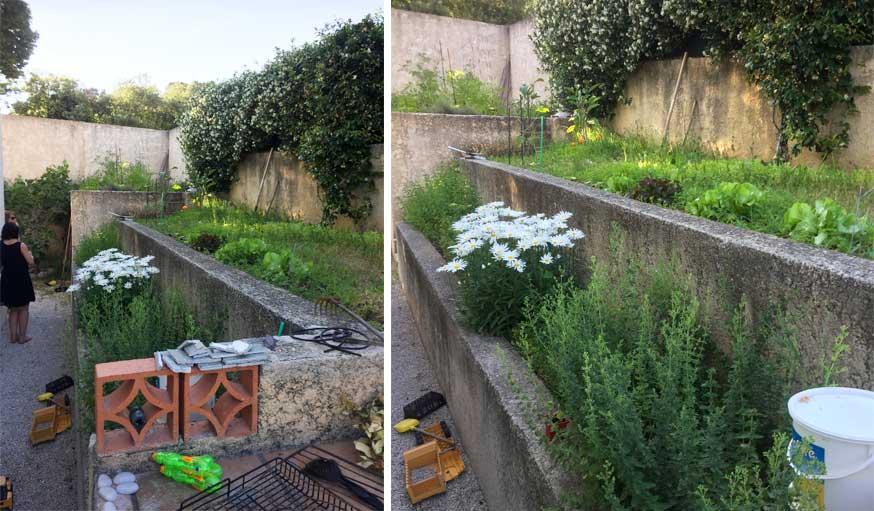 Terrasse avec jardinières avant les travaux agence MRC