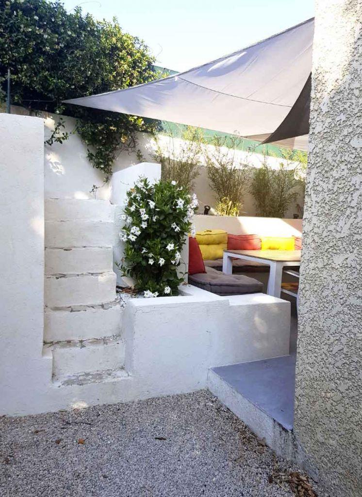 terrasse rénovée bancs maçonnés détail agence mrc