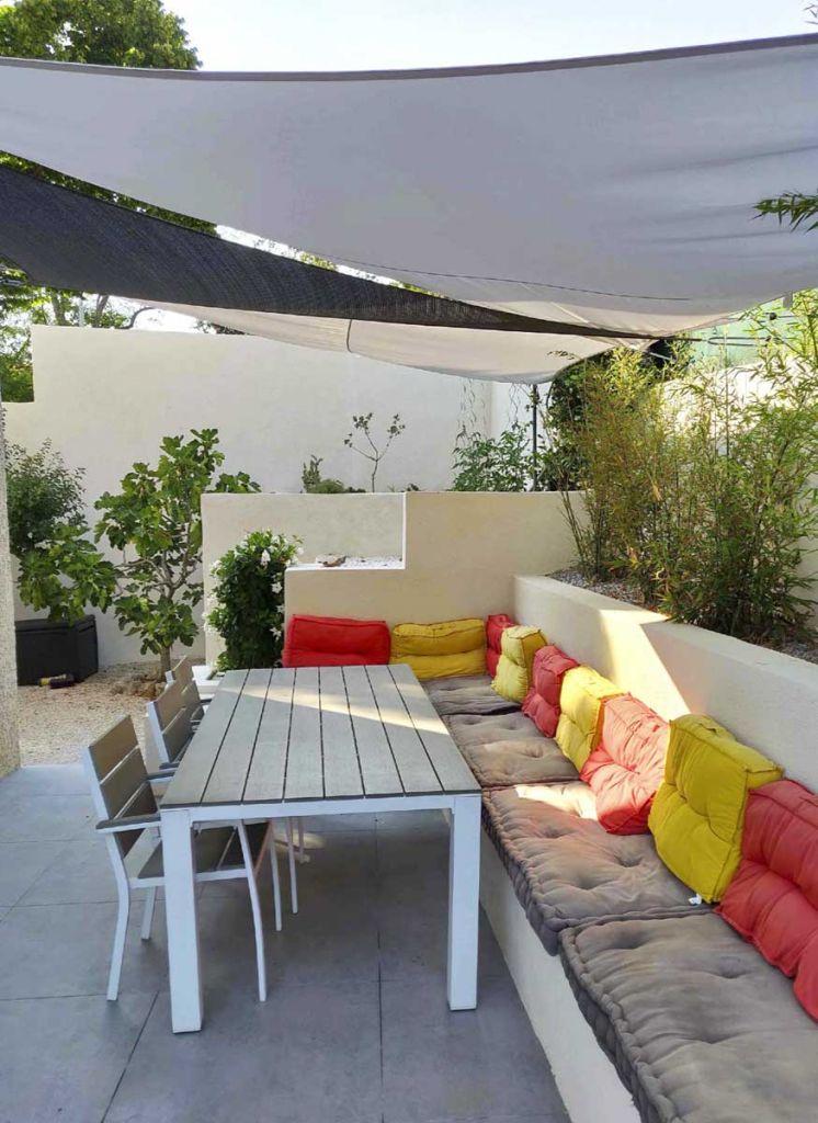 terrasse rénovée avec voiles d'ombrages agence MRC