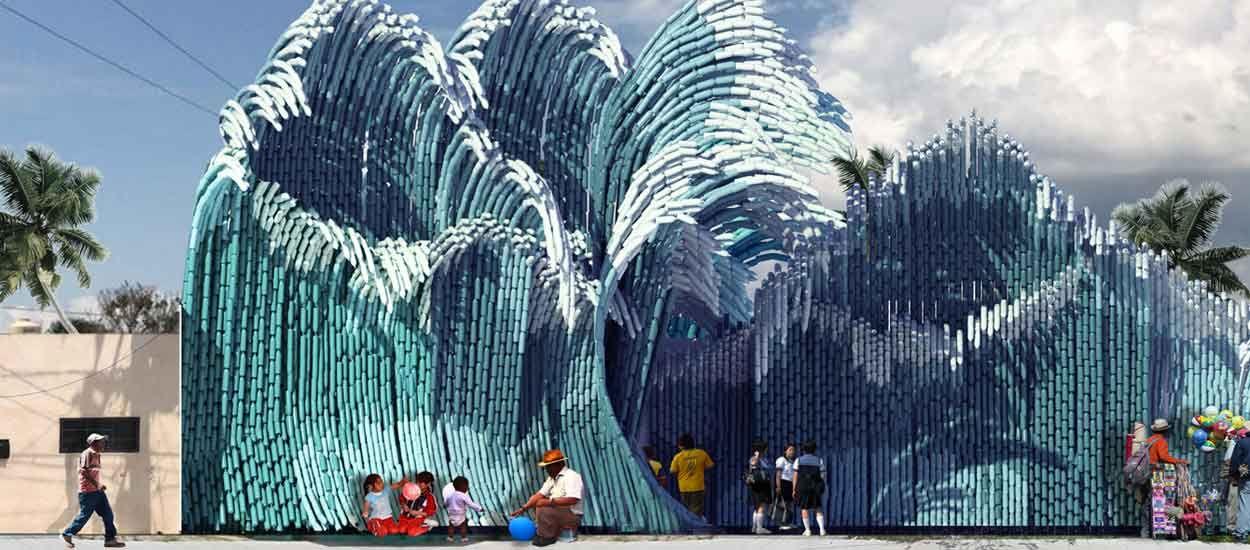 Des milliers de bouteilles en plastique recupérées dans l'océan pour construire une école d'art