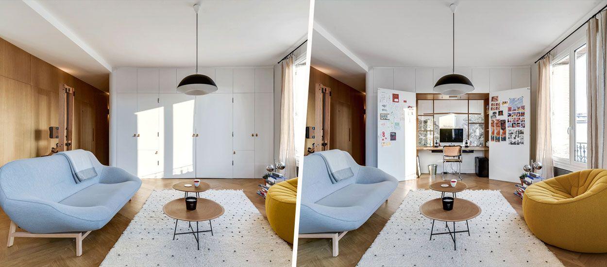 Avant / Après : Parfait pour travailler à la maison, ce bureau se cache dans un placard