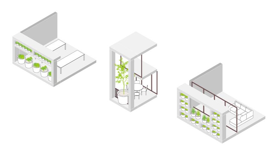 Green villa immeuble végétalisé plantes en pot dessiné par MVRDV et Van Boven Architecten details plans