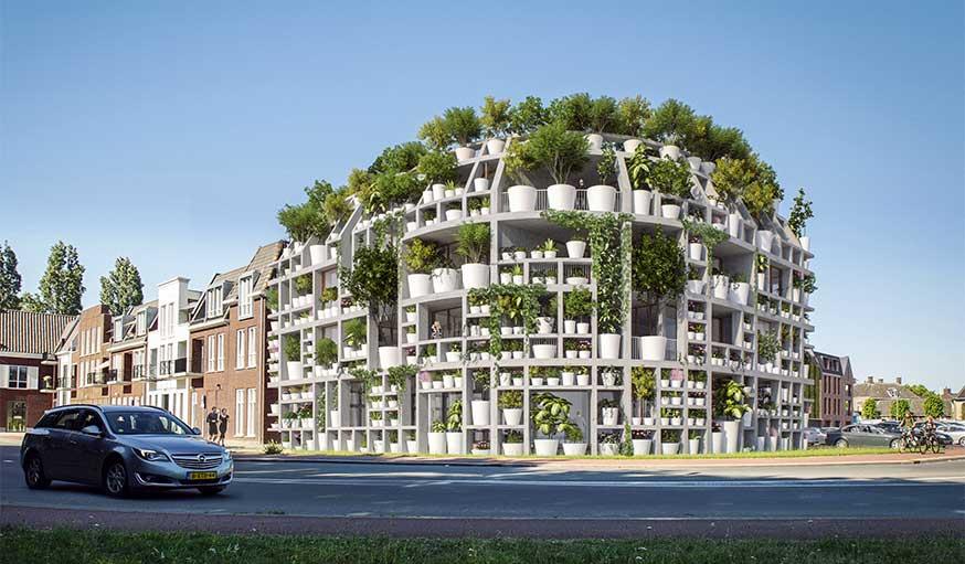 Green villa immeuble végétalisé plantes en pot dessiné par MVRDV et Van Boven Architecten