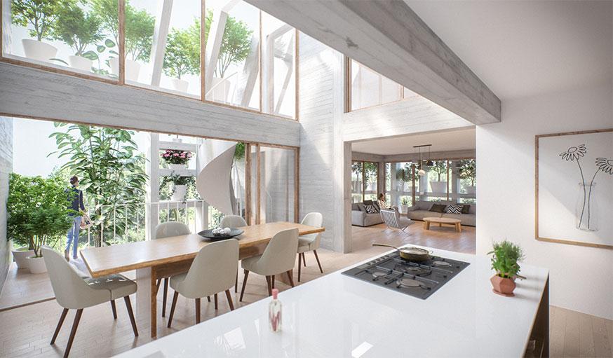 Green villa immeuble végétalisé dessiné par MVRDV et Van Boven Architecten vue intérieure