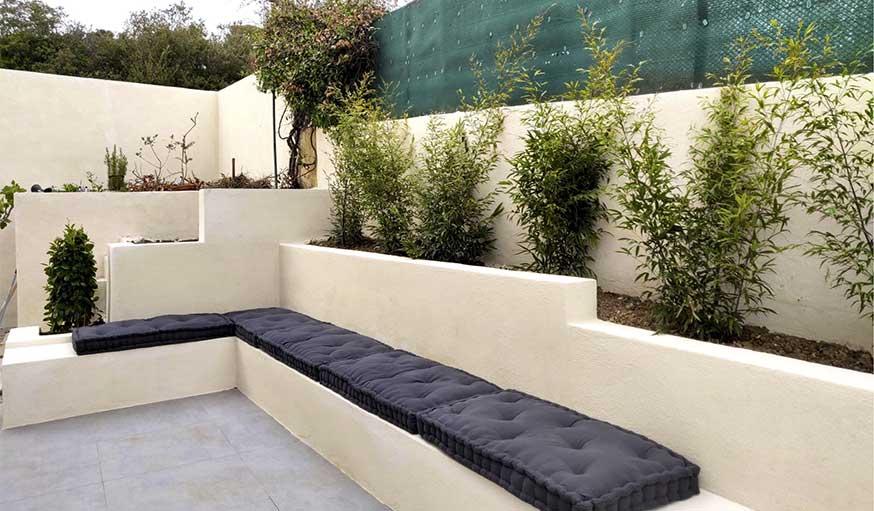 terrasse rénovée bancs maçonnés agence mrc