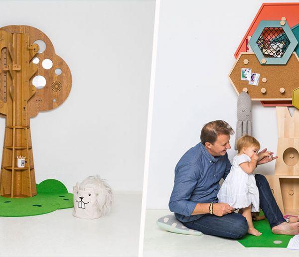 Ces meubles-arbres ont été imaginés à partir de dessins d'enfants