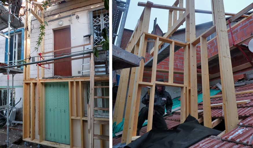 chantier surrélévation maison de ville Karine Lévy