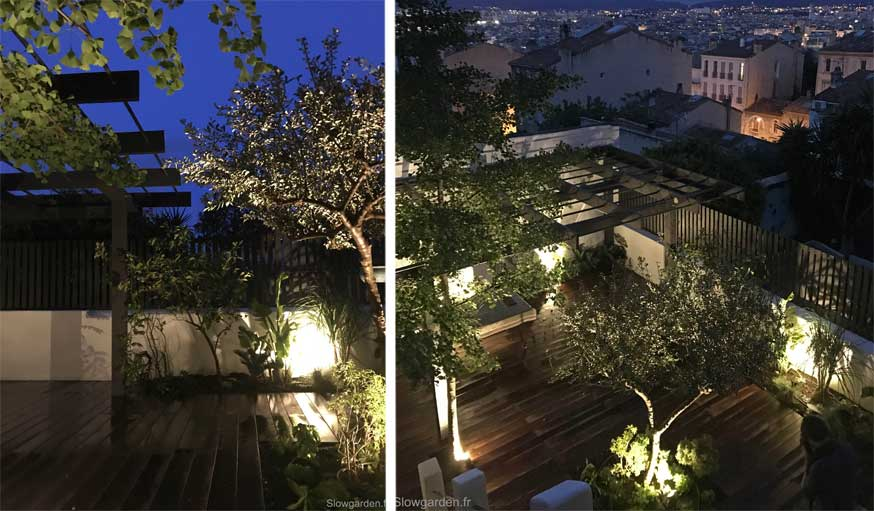 Avant après jardin Marseille pergola de nuit
