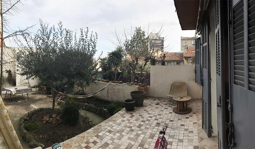 Avant après jardin Marseille avec pergola - terrasse avant rénovation