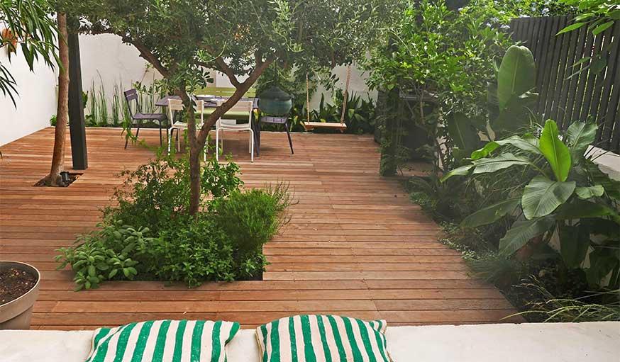 Avant après jardin Marseille pergola terrasse bois