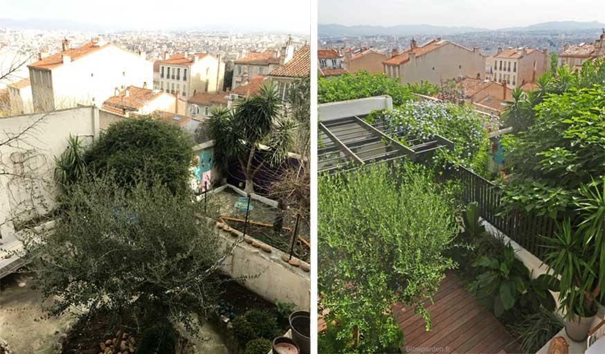 Avant après jardin Marseille avec pergola vue depuis le balcon