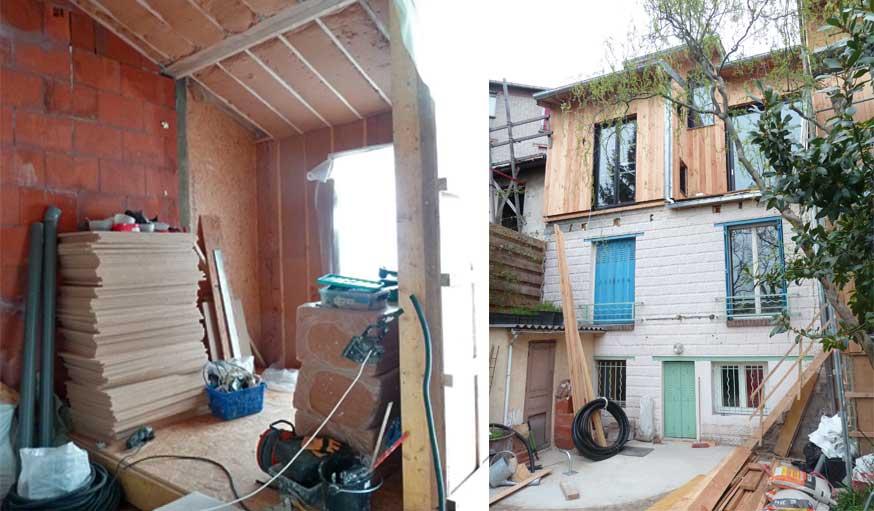 chantier surrélévation vue d'ensemble maison de ville Karine Lévy