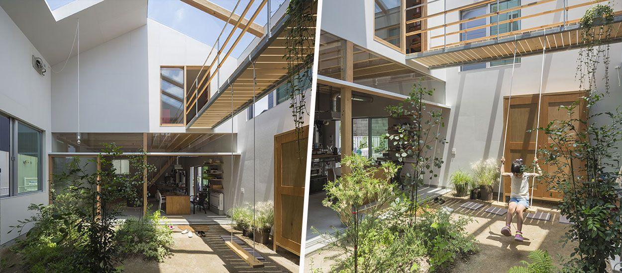 Cette maison de ville japonaise est complètement ouverte sur son jardin intérieur