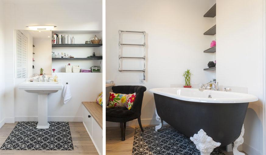 Salle de bains carrelage et parquet baignoire Maéma Architectes