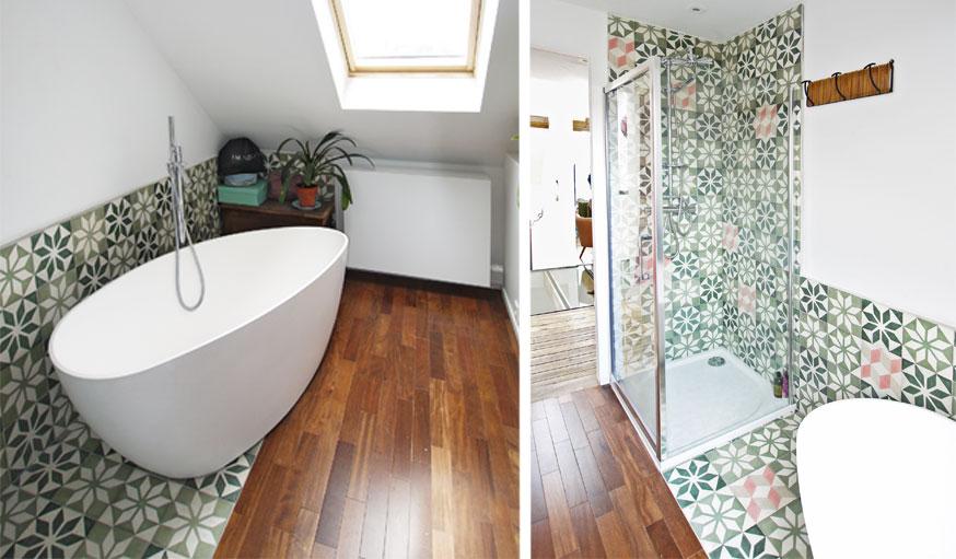 Salle de bains carrelage parquet metamorphOse collectif d'architectes