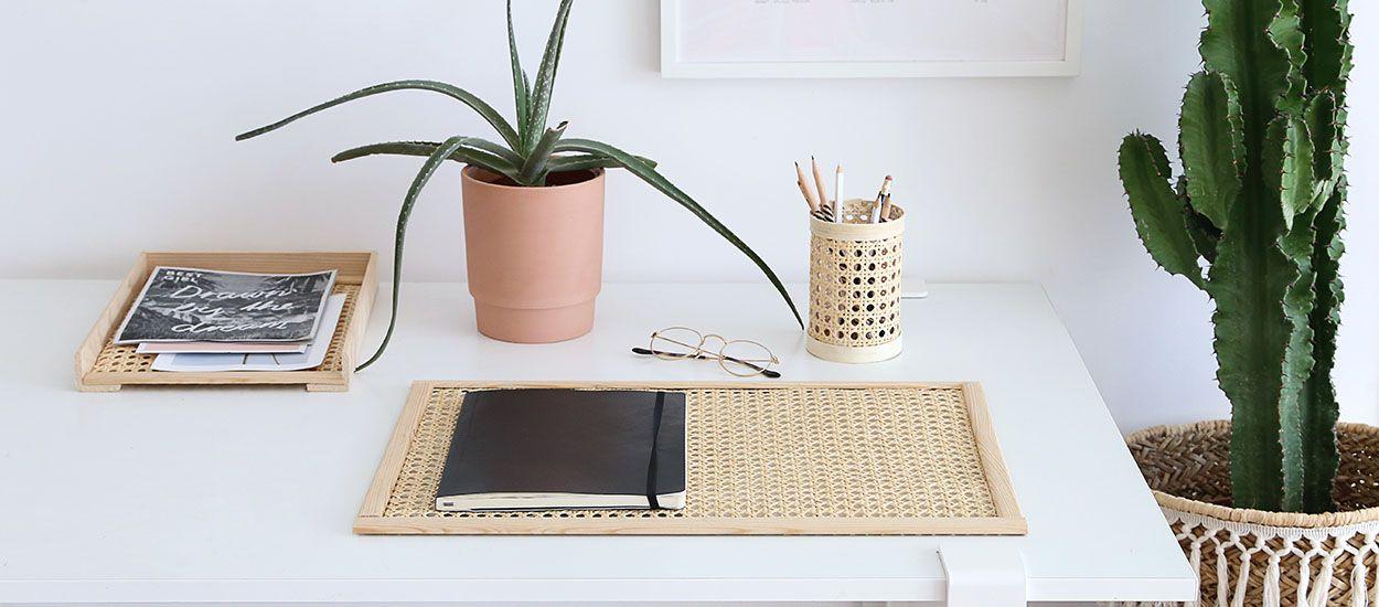 Tuto : Réalisez trois accessoires en cannage pour un bureau super tendance !